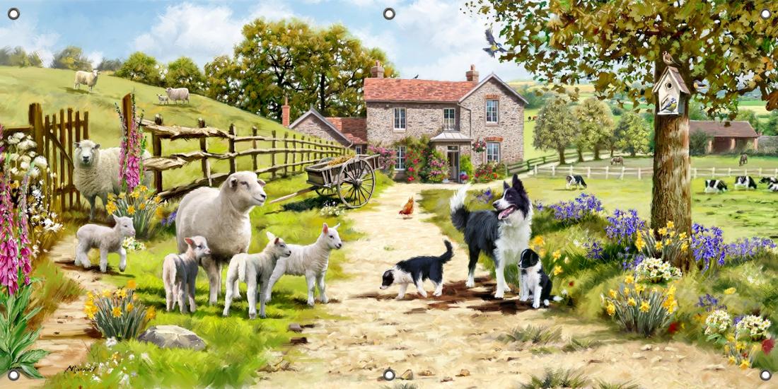 Tuinposter boerderij 70x140