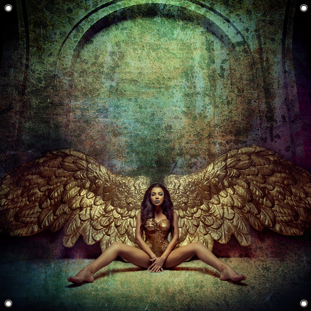 Tuinposter Gold winged angel 80x80