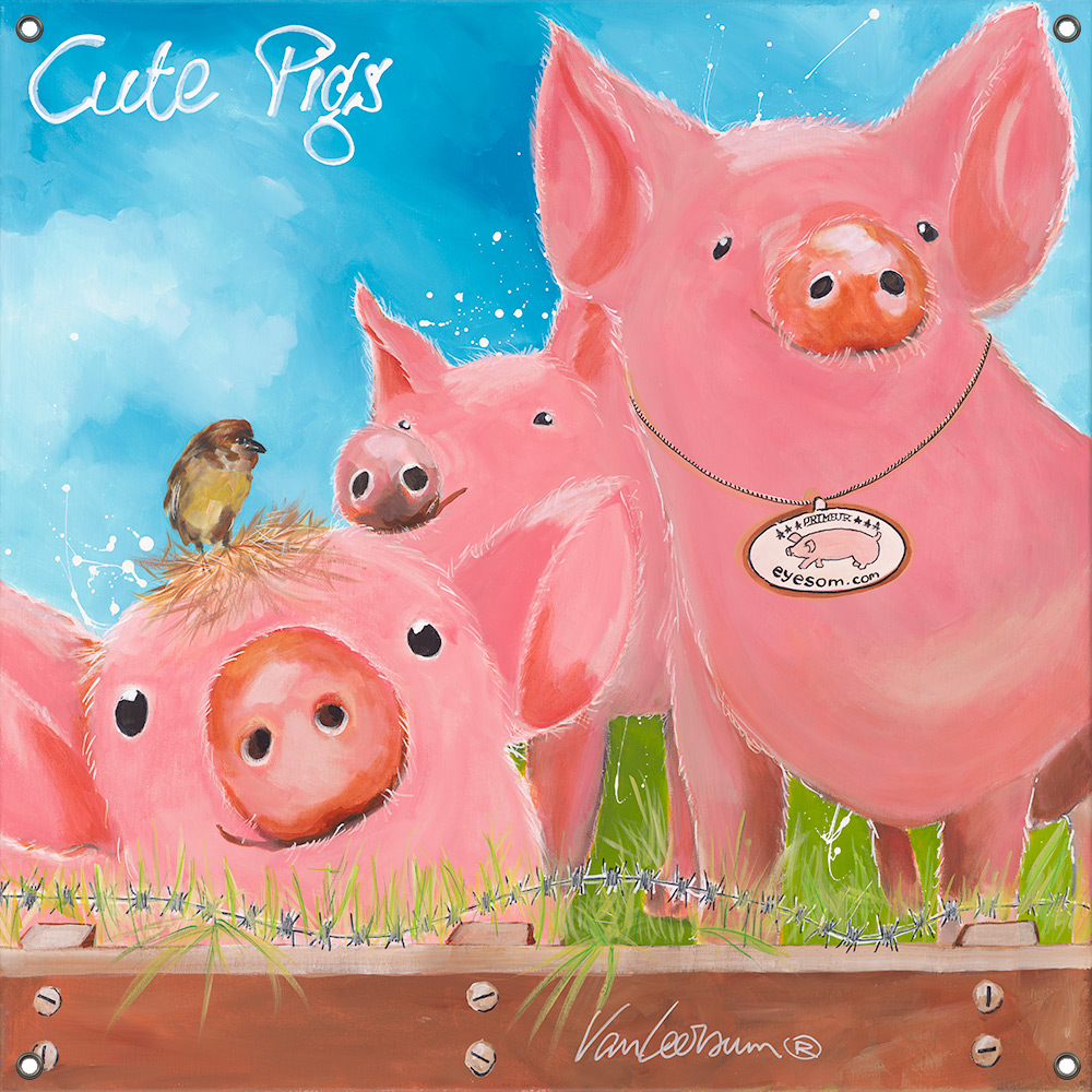 Tuinposter Cute Pigs 80x80