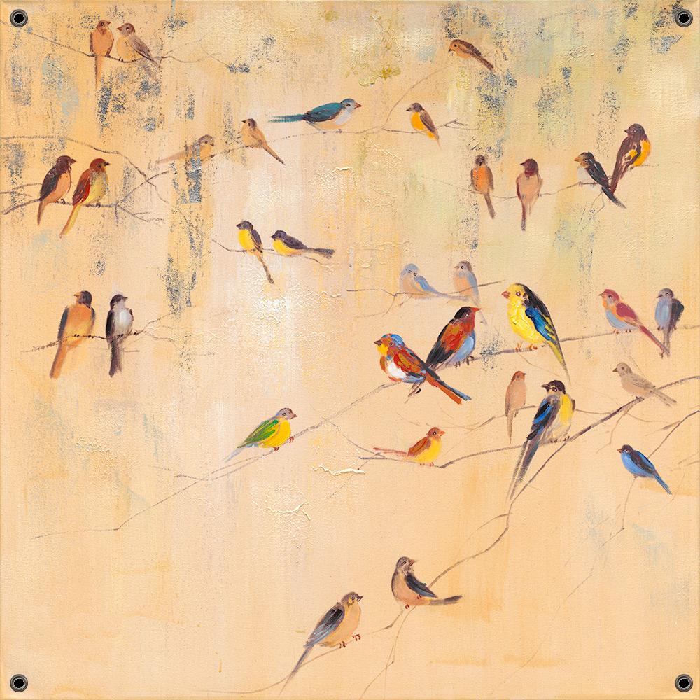 Tuinposter vogeltjes 80x80