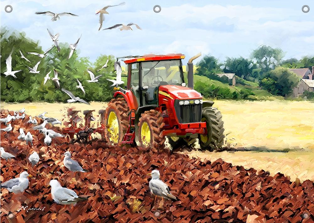 Tuinposter tractor boerderij 70x100