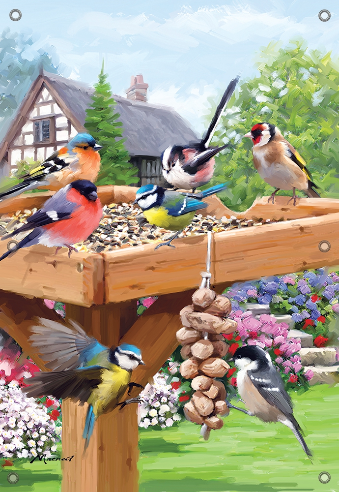 Tuinposter vogels op voederplateau GROOT 110x155