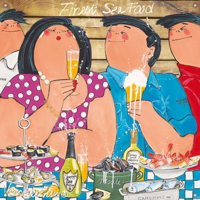 Tuinposter dikke dames Finest Seafood 80x80