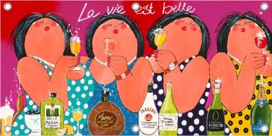 Tuinposter dikke dames La Vie Est Belle 70x140