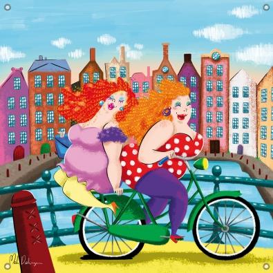 Tuinposter dikke dames aan de gracht op de fiets 80x80