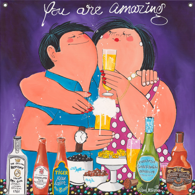 Tuinposter dikke dames You are amazing 80x80