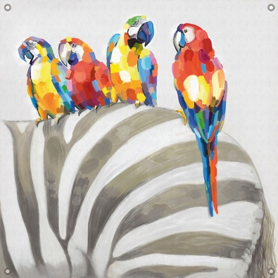 Tuinposter zebra met papegaai 80x80