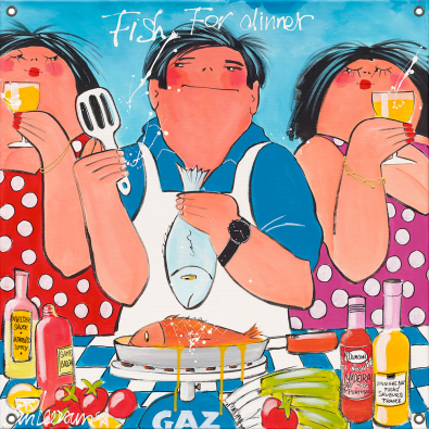 Tuinposter dikke dames Fish for dinner 80x80
