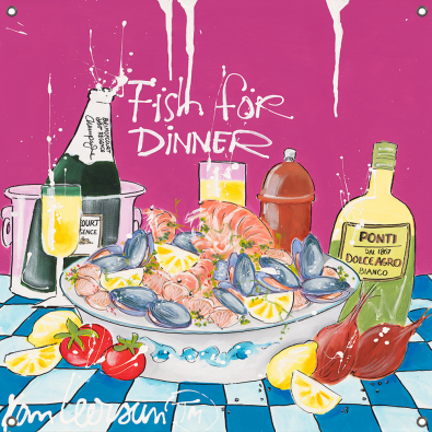 Tuinposter Fish for Dinner 80x80