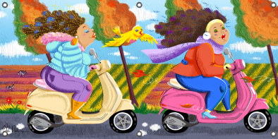 Tuinposter dames op de scooter 70x140