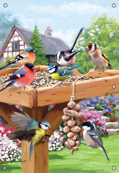 Tuinposter vogels op voederplateau 70x100