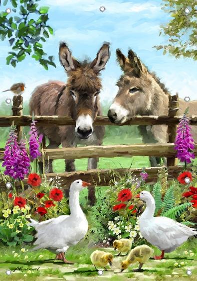 Tuinposter ezeltjes GROOT 110x155